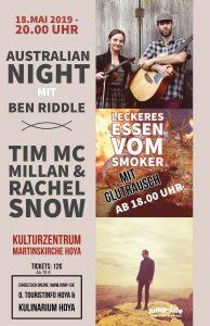 Australian Night: Mit Ben Riddle: Singer-Songwriter und Tim McMillan und Rachel Snow @ Kulturzentrum Martinskirche | Hoya | Deutschland